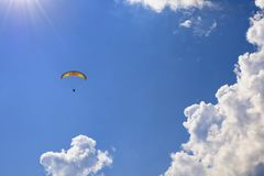 Skydiver in the clouds Royalty Free Stock Image