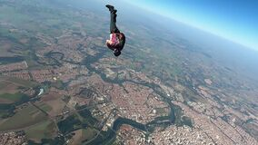 Skydiver doing a quick spin maneuver