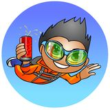Skydiver with a drink. Royalty Free Stock Photos