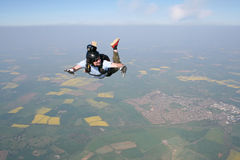 Skydiver falling through the air. At high speed Royalty Free Stock Photos