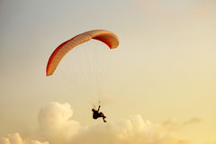 Skydiver flies on background of the cloudy sky Royalty Free Stock Images