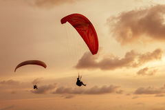 Skydiver flies on background of the cloudy sky Royalty Free Stock Photos