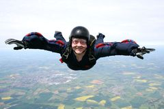 Skydiver in freefall. Close up of a Skydiver in freefall Stock Photos