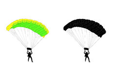 Skydiver. Gliding  silhouette and illustration Royalty Free Stock Image