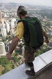 Skydiver jumping from KL tower Stock Photos