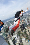 Skydiver jumping from KL tower Stock Photography