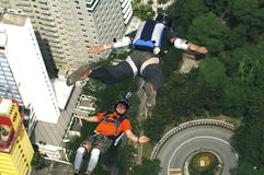 Skydiver jumping from KL tower Stock Images