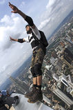 Skydiver jumping from KL tower Royalty Free Stock Images