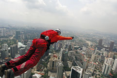 Skydiver jumping from KL tower Royalty Free Stock Image