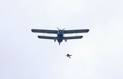 Skydiver jumps from An-2 plane Royalty Free Stock Images