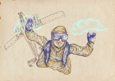 Skydiver jumps from an airplane. Skydiving, parachutist. Full-sized (original) hand drawing (useful for live trace converting for the  image - and others) Stock Images