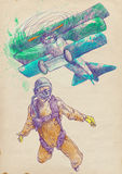 Skydiver jumps from triplane. Skydiving, parachutist. Full-sized (original) hand drawing (useful for live trace converting for the  image - and others) Stock Photos