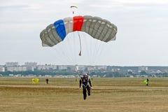 Skydiver lądujący po skoku Fotografia Royalty Free