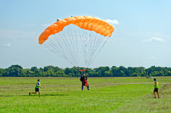 Skydiver landed after the jump Royalty Free Stock Photography