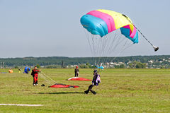 Skydiver landed after the jump Royalty Free Stock Photo