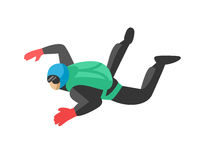 Skydiver man parachutist extreme sport freedom flat character vector illustration parachute skydiving extreme falling. Skydiver man jumper and professional speed Stock Photography