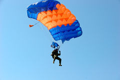 Skydiver on parachute Royalty Free Stock Images