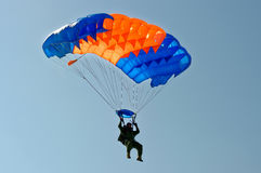 Skydiver on parachute Stock Photos