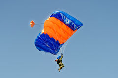 Skydiver on parachute Stock Photo
