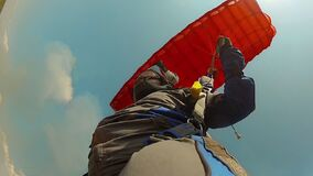 Skydiving photo. The concept of active recreation.