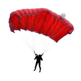 Skydiver. Silhouette on white background Stock Image