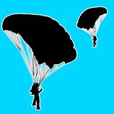 Skydiver, silhouettes parachuting vector Stock Photo