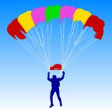 Skydiver, silhouettes parachuting vector Stock Image