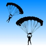Skydiver, silhouettes parachuting vector Royalty Free Stock Photos