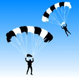 Skydiver, silhouettes parachuting vector Royalty Free Stock Image