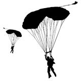 Skydiver. Silhouettes parachuting vector illustration Stock Image