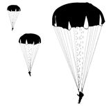 Skydiver. Silhouettes parachuting vector illustration Stock Photography