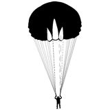 The Skydiver silhouettes parachuting a vector illustration. Royalty Free Stock Photography