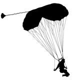 The Skydiver silhouettes parachuting a vector illustration. Stock Photo