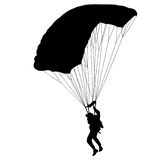 The Skydiver silhouettes parachuting a vector illustration. Royalty Free Stock Image