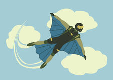Skydiver sports extreme parachute falling freedom person sky ill Stock Photography