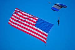 Skydiver with the USA flag Royalty Free Stock Photo