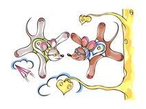 Skydiver zwei springen Mäusefallschirmspringer lizenzfreie abbildung
