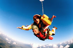 skydivers действия тандемные Стоковые Изображения RF