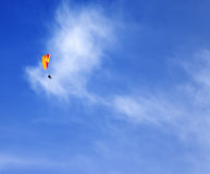 Skydivers in blue sky Stock Photo