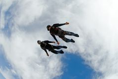 Skydivers diving fast royalty free stock photos
