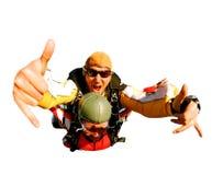 Skydivers en tándem en la acción Imagenes de archivo