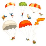 Skydivers flying with parachutes set, extreme parachuting sport and skydiving concept vector Illustrations on a white. Skydivers flying with parachutes set royalty free illustration