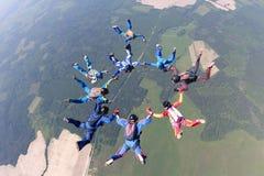 Skydivers gör ett bildande i himlen arkivbilder