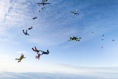 Skydivers har hoppat ut ur två flygplan royaltyfri bild