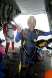 Skydivers. Preparing to jump from a C130 Hercules transport aircraft in Solo, Central Java, Indonesia Stock Image