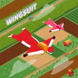 Skydivers In Wing Suit Isometric Illustration Stock Photos