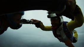 Skydivers skaczą od samolotowych mienie ręk, komarnica w popielatym niebie formacja ekstremum zbiory