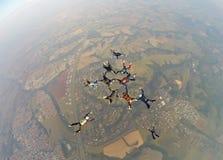 Skydiving会议朋友 库存图片