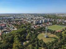 Skydiving塔,秋天公园风景,鸟瞰图 免版税库存照片