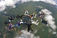 Skydiving形成 免版税库存图片